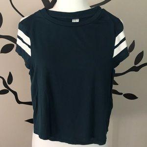 H&M striped crop shirt